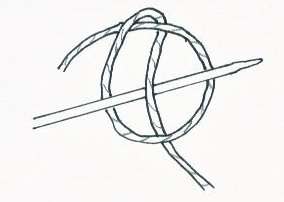 Cast on slip knot for two needle cast on