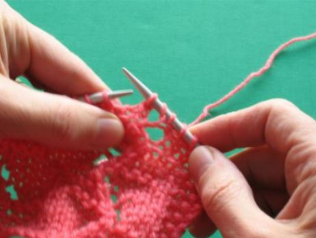 End result – the yarn over makes a hole and ssk is the matching decrease.